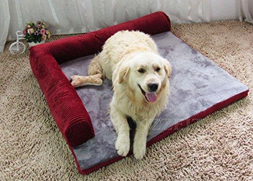 Glanzzeit Luxus Hundebett Schlafsofas für Hunde / Katzen Weiche Hundesofas Waschbare Hundekissen mit Kuscheligem Plüsch (XL, Weinrot)
