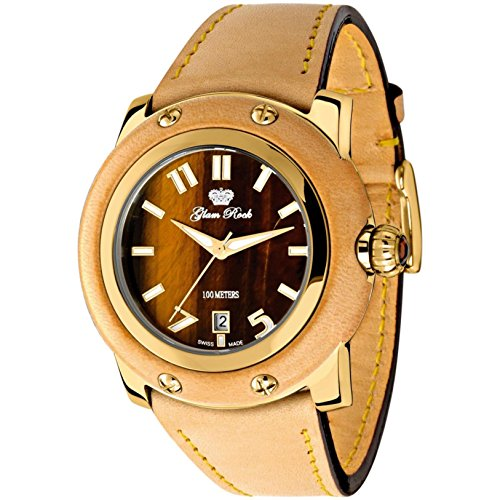 Glam Rock Women's Miami 46mm Brown Leather Band Gold Plated Case Quartz Analog Watch GR10039