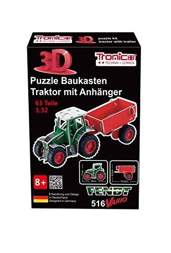 Baukasten Bausatz Einsteiger 3D Puzzle Starter Set 1:32 Traktor mit Anhänger Fendt Vario 516 - 4 farbige Aufbauanleitung Jungs ab 8 Jahren Lernfeld Farm Steckbaukasten Freilauf Tronico