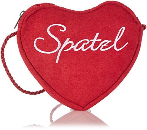 Alpenflüstern Damen Herztasche Spatzl-Stick Umhängetaschen, (rot 22), 19x17x2 cm