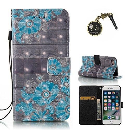 Preisvergleich Produktbild 3D iPhone 7 Hülle, PU Leder Hülle für Ledertasche Schutzhülle Case[Stand Feature] Flip Case Cover Etui mit Karte Slots Hülle für Apple iPhone 7(4.7 Zoll)+Staubstecker (8)