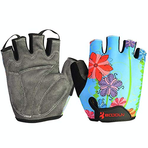 MISS&YG Radhandschuhe mit halbem Finger Rutschfeste Verschleiß-resistente Outdoor-Bergsteigerradtrainingsfitness,Lakeblue,L