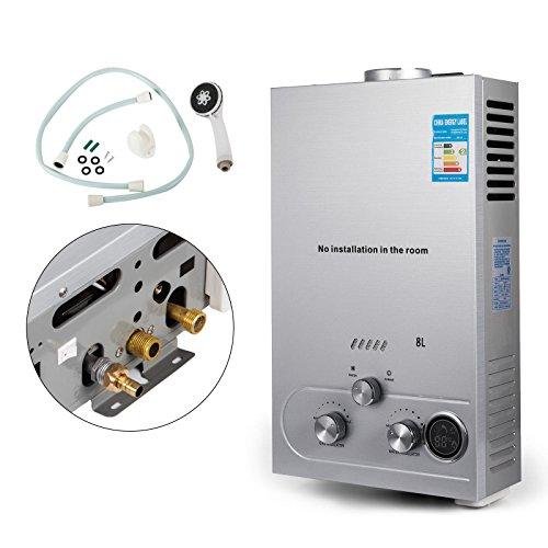 Anhon 6-18L LNG Warmwasserbereiter Gas Propan Durchlauferhitzer Tankless Instant Boiler mit Duschkopf und LCD Display (8L) (Propan-wasser-heizung)