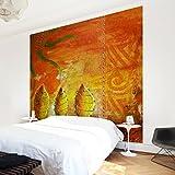 Apalis Waldtapete Vliestapete African Happiness Fototapete Quadrat | Vlies Tapete Wandtapete Wandbild Foto 3D Fototapete für Schlafzimmer Wohnzimmer Küche | Größe: 336x336 cm, gelb, 97478