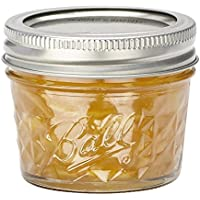 BALL MASON JARS 1440008003 - Frascos de vidrio de 135 ml, diseño de diamantes, 4 piezas, color transparente