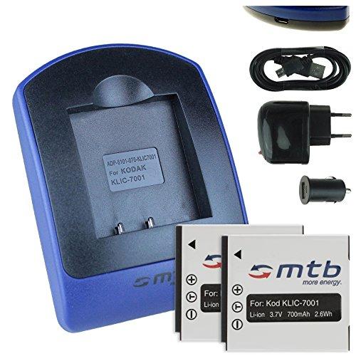 2 Akkus + Ladegerät (Netz+Kfz+USB) für Kodak Klic-7001, Easyshare M320... / BenQ DC E1050 E1220 / Praktica Luxmedia 10-TS.. s. Liste