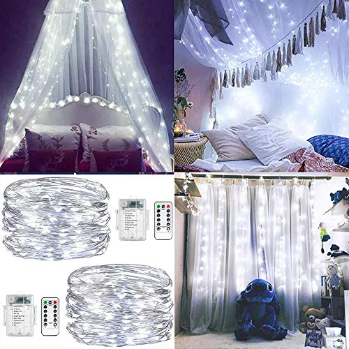 Garten-center (ENUOLI Fairy Schnur-Licht-2 Set 16.5ft 50LED Lichterketten Batterie Cooper Draht Lichter Betrieb mit Fernbedienung 8 Modus-wasserdichten Leuchten für Garten Schlafzimmer Center Hochzeit (Cool White))