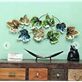 Style Home Art Rajasthani Iron Handcrafted Metal Decor Set of Maple Leaves Wall Art (42x3x26 in)