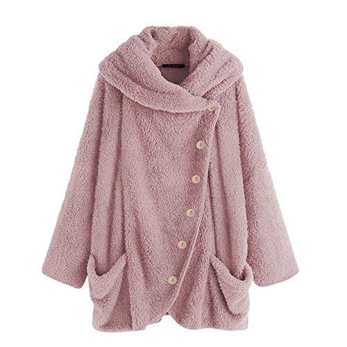 OSYARD Damen Reißverschluss Kapuzenpulli Mantel Winter Warme Wolltaschen Mantel Outwear, Frauen Wollmantel Fuzzy Sherpa Sweatshirt Fleece Pullover Warmer Sweatjacke Fleecejacken Strickjacke Nylon-print-mantel