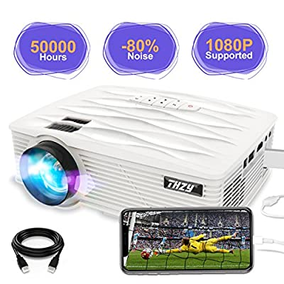 THZY Portable LED Mini Projector LCD 1080P Video Projector with 170'' Display and 50000 Hours, with Amazon Fire TV Stick Laptop iPhone/iPad Smartphone Xbox for Movie Picture Game Party, 2018 Upgraded LED Cinema Projector