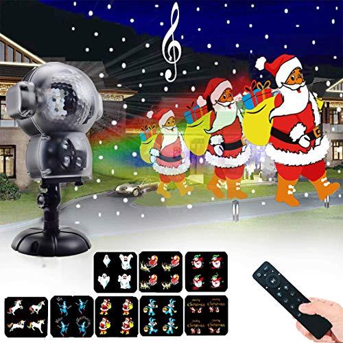 Proiettore Luci Di Natale ,Luce di caduta della neve impermeabile con telecomando Timer e musica Player Animated Lights Proiettore per Halloween matrimonio natale vacanz