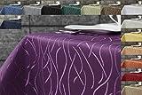 First-Tex Damast Streifen Tischdecke eckig 90x90 lila