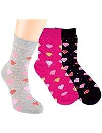 Vitasox Kinder Socken Baumwolle Mädchen Kindersocken Mädchensocken Baumwollsocken Herzchen bunt ohne Naht 3er und 6er Pack