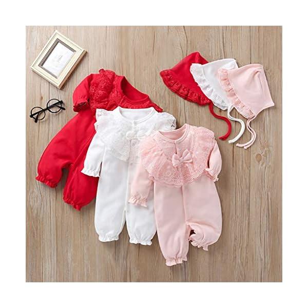 Mono Infantil Lindo bebé Niños niñas Color sólido Mameluco de Encaje con Volantes Trajes de Mono + Sombrero(3M-12M) 2