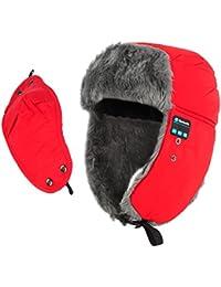 Coco Fashion adulto unisex cálido cómodo Bluetooth Beanie gorro inalámbrico con Bluetooth para auriculares con micrófono rojo rojo vino talla única