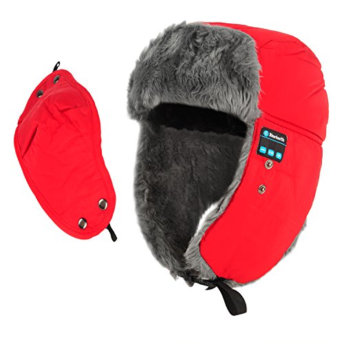 Bluetooth Trooper Hat,CoCo Fashion Unisex Winter Waterproof Faux Fur Lined Bomber Aviator Hat with Earflaps and Windproof Mask for Running Skiing Skating Hiking,Christmas Gifts-Red Test