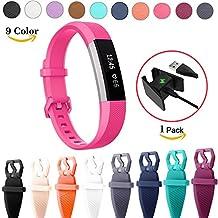 Chok Idea de la pulsera de repuesto para Fitbit alta HR, [incluye cargador USB], Classic transpirable pulsera estilo silicona correas accesorios de repuesto para Fitbit alta HR pulsera de fitness, 10colores