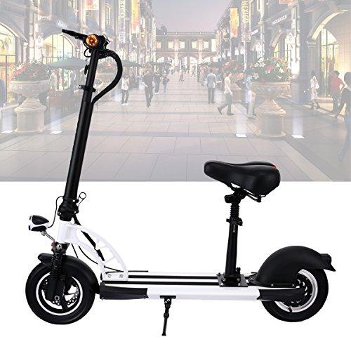 AMdirect Klappbar E-scooter Elektroroller für Erwachsene City E-roller Elektro Scooter Herren/Frauen/Kinder ab 12, mit Abnehmbarer Sitz, Breiten Rädern, LED Licht, Reichweite bis zu 30km/h
