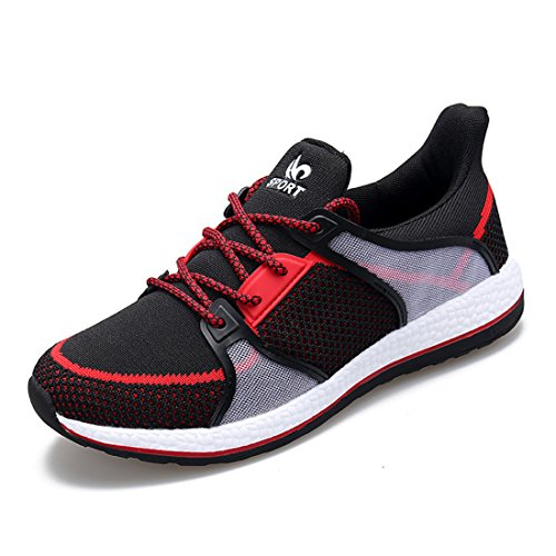 Men's Mesh Breathable Lace Up Running Shoes red