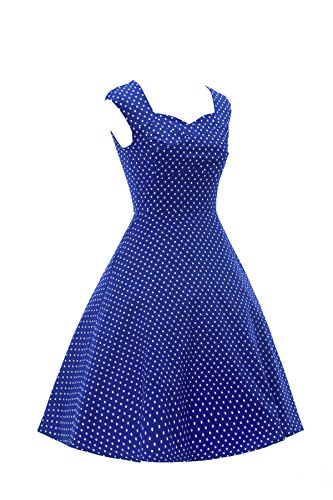 LOBTY Damen Rockabilly Tupfen Dress 50er 60er Jahre Vintage-Kleid Hepburn Retro Audrey Mini Rock Slim Knielang Kleid Ohnearm Dunkel Blau