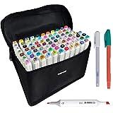 UGUI 80 pcs Marker Stift Twin Tip Textmarker Graffiti Pens Set Mit 80 Farben Für Studenten Manga Kunstler Design Schule Drawing Sketch Marker Pen Art Supplies Mit Aufbewahrungstasche (Kostenloses Geschenk-Marker-Papier-Pad)