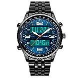 Männer einzigartige zwei Zeitzonen Analog-Digital-Uhrengeschäft blaues Zifferblatt Edelstahlband Armbanduhr