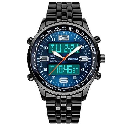 Männer einzigartige Zwei Zeitzonen Analog-Digital-Uhrengeschäft blaues Zifferblatt Edelstahlband Armbanduhr Digitale Komponente