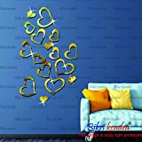[Sponsored]BikriKendra - Love Hearts Golden 16-3D Acrylic Mirror Wall Décor Stickers For Home & Office - Factory Outlet - Premium Quality