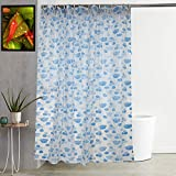 """Kuber Industries Floral Design PVC Shower Curtain with Hooks - 54""""x84"""", Blue"""