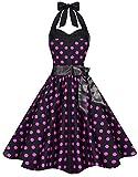 Zarlena Damen 50er Retro Rockabilly Pola Dots Petticoat Neckholder Kleid Schwarz mit pinken Dots Medium 611