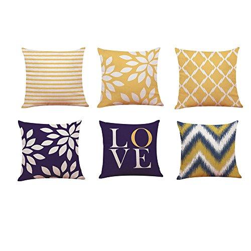Cojines amarillos para sofá gris. Conjunto de 6PC