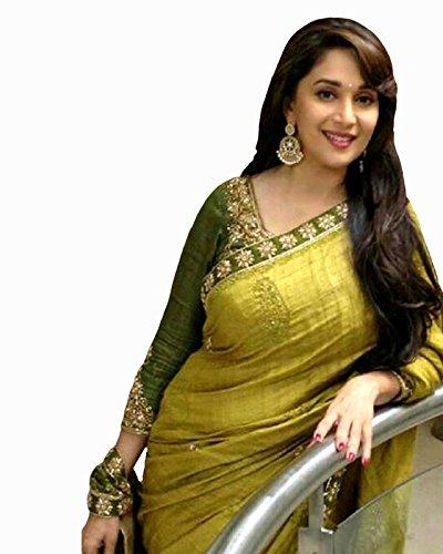 Arawins Party Wear Madhuri Bollywood New Collection Green Bhagalpuri Silk Embroidered Saree