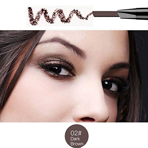 Magical Halo Precision wasserdicht Stir Liner Doppel-Augenbrauen Bleistift mit Augenbrauen Pinsel Tools 5 Farben Dark Brown Packung von 1