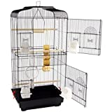 WorldStores - Grande gabbia per uccelli,2+ 2porte, 2manici, 3posatoi, 4ciotole, modello Lotus