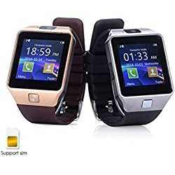 ShopAIS Samsung Galaxy J7 Compatible and Certified DZ09 Smart Watch (Gold/Silver) Bluetooth Smart Watch Phone With Camera and Sim Card Support With Apps like Facebook and WhatsApp Touch Screen Multilanguage Android/IOS Mobile Phone Wrist Watch - Assorted color