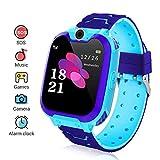Kinder Smartwatch, Smart Watch Phone mit Musik-Player, SOS, 1,44 Zoll LCD-Touchscreen-Uhr mit Digitalkamera, Spielen, Wecker für Jungen und Mädchen (Blau)