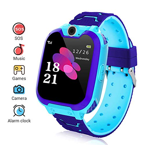 Kinder Smartwatch, Smart Watch Phone mit Musik-Player, SOS, 1,44 Zoll LCD-Touchscreen-Uhr mit Digitalkamera, Spielen, Wecker für Jungen und Mädchen (Blau) - Touch-screen-wecker