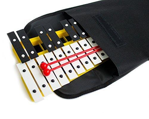 Prokussion école Série 27principales Glockenspiel Xylophone avec Deluxe Housse de transport souple jaune