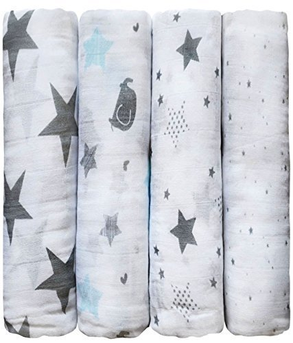 "Muslin Squares (4 Pack) Muslin Swaddle Blankets by CuddleBug - ""Soothing Stars"" - Large Muslin Blankets for Newborns - 47"" x 47"" Receiving Blanket"