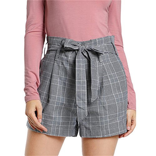 Belted Plaid Jeans (Jianyin Tie Taille Pocket Side Plaid Shorts Mitte Taille Belted Straight Leg Shorts mit Reißverschluss Frauen Elegante Shorts Gray S)