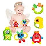 Blossom Baby Teethers Rattle Toy Set (Set of 5 Pcs) with Various Exciting Rattle Toys for New Borns & Infants, Multi Color.