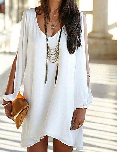 PU&PU La robe de femmes élégantes, col V à manches longues ample white-m