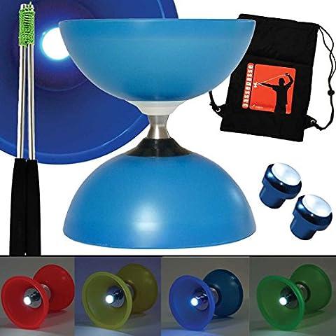 Henrys Bleu Diabolo Vision FREE Axe Roulement avec écrous M6 Nuit & Jour édition limitée avec baguettes en Aluminium et sac