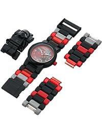 LEGO Star Wars 8020998 Kylo Ren Kinder-Armbanduhr mit Minifigur und Gliederarmband zum Zusammenbauen | schwarz/rot| Kunststoff  | analoge Quarzuhr | Junge/ Mädchen | offiziell