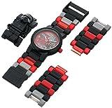 LEGO Star Wars 8020998 Kylo Ren Kinder-Armbanduhr mit Minifigur und Gliederarmband zum Zusammenbauen, schwarz/rot, Kunststoff, Gehäusedurchmesser 25mm, analoge Quarzuhr, Junge/Mädchen, offiziell