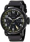 Invicta Herren 'Aviator' Schweizer Quarz Edelstahl und Leder Casual Uhr, Farbe: Schwarz (Modell: 22253)