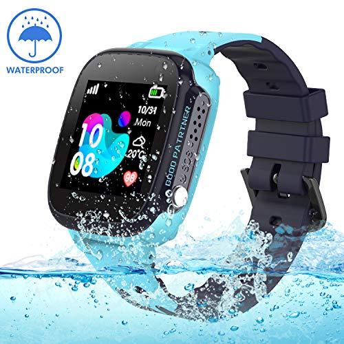 Jaybest Kinder Smartwatch IP68 imprägniern Telefon Uhr,Touch LCD Kid Smart Watch für Jungen Mädchen mit LBS Tracker SOS Anruf Kamera Anti-Lost Voice Chat(Blue) (Kids-uhren)