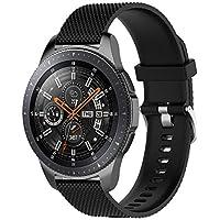 samLIKE Pulsera de Silicona para Samsung Galaxy Watch 46mm (S)–Ajustable Brazalete Deportivo Transpirable Rayas Diseño Pulsera de Repuesto para Hombre y Mujer, 10Colores, Color �� Schwarz