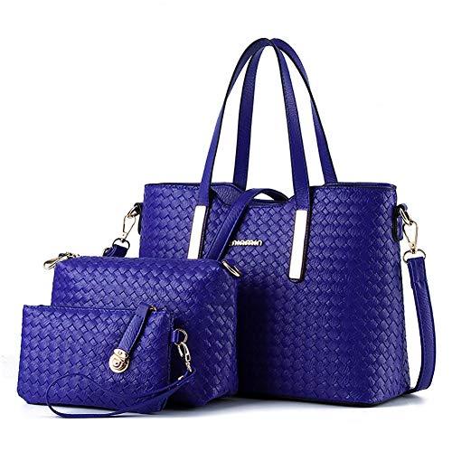 True-Ying Damen Handtasche PU Leder Geflochtene Geldbörse Hobo Messenger Bag Clutch Umhängetasche 3-teilig Geschenkset Schultertasche Messenger Bag Handtasche für Damen dunkelblau