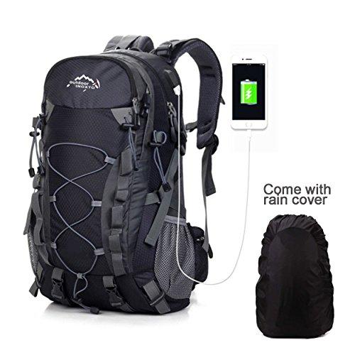 Meisohua Wasserdichter Rucksack 40L Leicht, Erwachsene Wanderrucksack Manner Frauen Outdoorrucksack für Klettern Camping Reiten Reisen Freizeit, für 15.6 Zoll Laptop (2Schwarz)